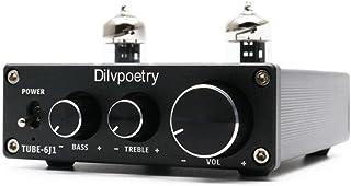 Dilvpoetry TUBE-6K4 Vacuum Tube Preamp Buffer 6K4 Tube Preamplifier Adustable Treble Bass (Black)