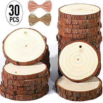 5ARTH Natural Wood Slices - Craft Unfinished Wood kit Predrilled with Hole Wooden Circles for Arts Wood Slices Christmas Ornaments DIY Crafts