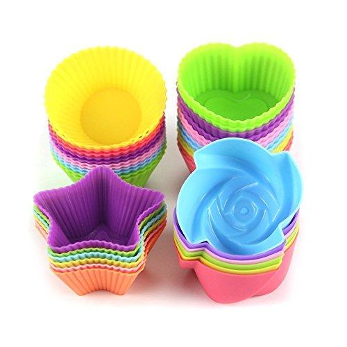 MINGZE Fodere per cupcake in silicone da 24 pezzi, tazze da forno antiaderenti riutilizzabili Forme da muffin per pasticceria, Pirottini da forno stampo in silicone, rotonde, stelle, cuore, fiori