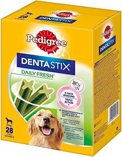 Pedigree DentaStix Daily Fresh Zahnpflegesnack für große Hunde – Hundeleckerli mit Aktivwirkstoffen für jeden Tag – Für gesunde Zähne und einen frischen Atem – 112 Sticks (4 x 28 Stück)