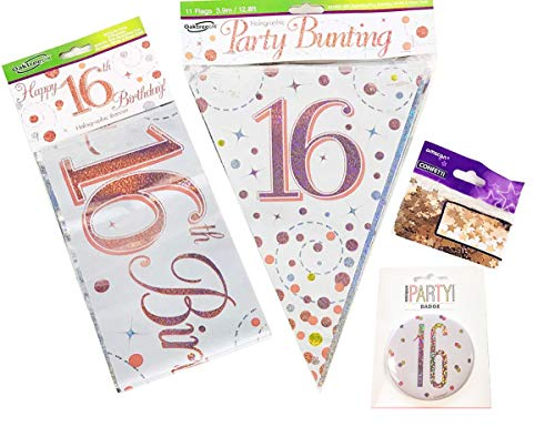 Neon Candy 16th Birthday Decorations Banner Bunting Confetti Badge Age Rose Gold Him Her Sweet 16 Teenager Milestone Party Supplies Room Home Wall Hanging Garland Foil
