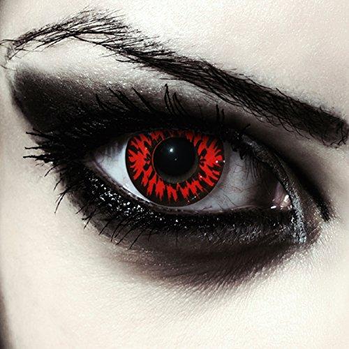 Designlenses, 2 rote weiche farbige Vampir Kontaktlinsen für Halloween Twilight Kostüm Farblinsen gratis Kontaktlinsenbehälter Modell: Vampire