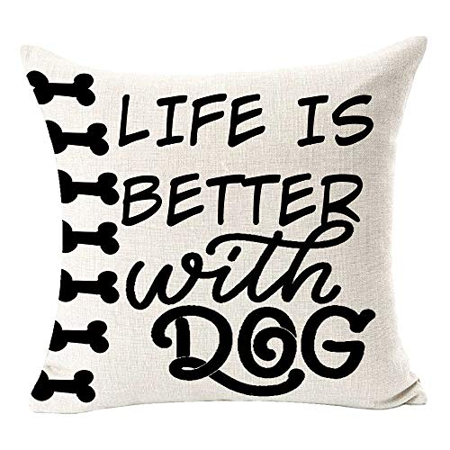 BUSAMEDO Best Gift Lovely Dogs Life is Better with A Life Simple Fashion Home Cotton Linen Decorative Throw Pillow Cover Cushion Case Decor Sofa Square 18 inch