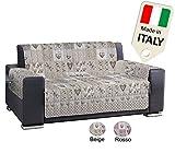 Biancheria&Casa Copridivano 3 posti Made in Italy Trapuntato Shabby con Cuori