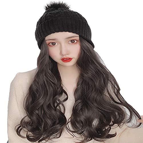 18 pouces noir brunâtre long ondulé perruque avec Noir Bonnet Big Pompons, chaud et douillet Toison d'hiver Liner quotidien maquillage for les filles Lady femmes