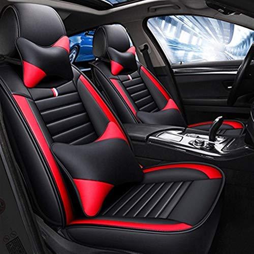 Protection siege voiture Moderne Minimaliste Mode cuir Siège d'auto Couverture for Auto Pièces 5 sièges Protection (Color Name : Black red pillow)