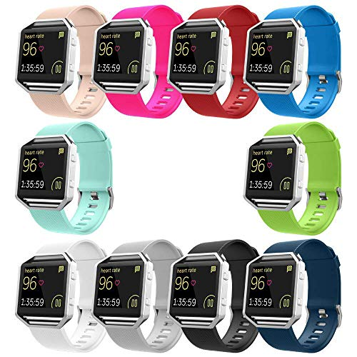 Blaze Bands Set, Sport Silicone Replacement Strap with Frame for Blaze Smart Fitness Watch