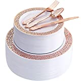 300pcs Rose Gold Dinnerware SetRose Gold Plastic Lace Plates, Durable Cutlery Setinclude 60 Dinner Lace Plates, 60 Salad Lace Plates, 60 forks, 60 knives, 60 spoonsSupernal