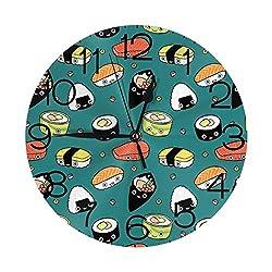 FISHISOK Japan Sushi Food Wall Clock Fashion Round Digital Clock Luxury Mute Wall Clocks Features Indoor Decoration