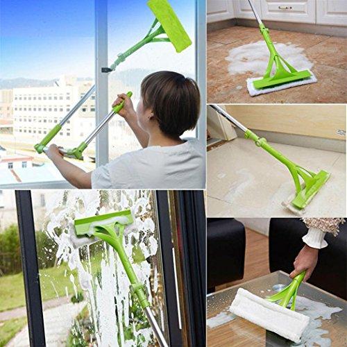 Hunpta Manche télescopique pliable pour nettoyer les vitres - Vert