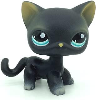 Rare Littlest Pet Shop Black Short Hair Cat Kitty Blue Eyes Figure Toy LPS #994
