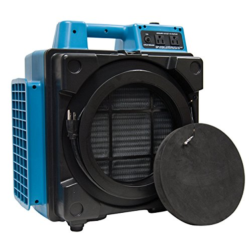 XPOWER X-2480A Professional 3 Stage Filtration HEPA Purifier System, Negative Air Machine, Airbourne Cleaner, Mini Scrubber, Blue