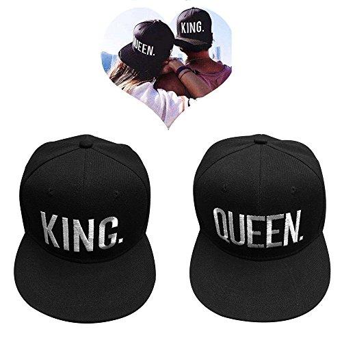 EQLEF Baseballcap für Liebhaber, 2 Stücke Hut mit 3D Stickerei Brief König und Königin für Liebhaber Paare Erwachsene - 1 Paar (Typ 1)