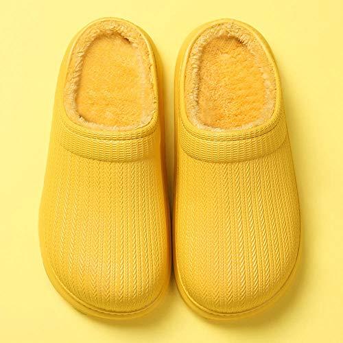 ypyrhh Pantoffeln rutschfeste Gummisohle,wasserdichte Hausschuhe,warme Baumwollschuhe mit runden Zehen-gelb_39-40,Hausschuhe Damen Warm Winter Slipper