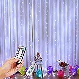 PEMOTech 300 luces LED de cortina de 3 x 3 m, luces de Navidad con 8 modos de control remoto, IP65 luces de hadas para exteriores, bodas, fiestas, jardín, decoración de dormitorio