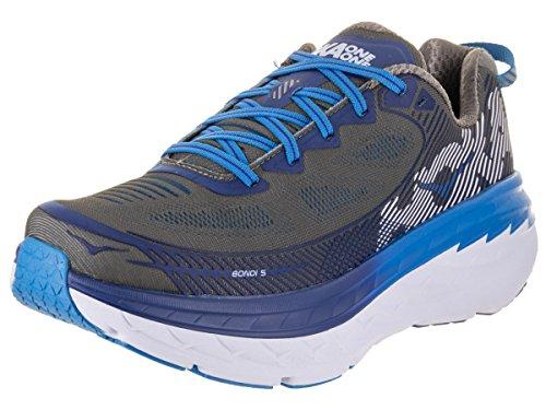 HOKA ONE ONE Mens Bondi 5 Charcoal Gray/True Blue Running Shoe - 12 M