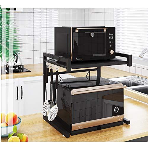 UMI - Soporte de metal para horno y microondas, con 3 ganchos, capacidad de peso de 60 kg, color negro y acero inoxidable