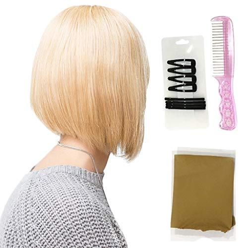 MERIGLARE Femmes Cheveux Humains Noirs Bouclés Pixie Cut Cosplay Party Perruque 8 '' Postiche - #1 14 pouces