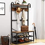 Tribesigns Vintage 4 in 1 Hall Tree with Storage Bench, 3-Tier Industrial Entryway Bench with Coat Rack and Hanging Bar, Coat Rack Stand with Shoe Rack, Storage Shelf and 5 Hooks (Rustic)