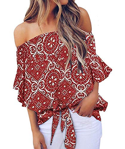 Womens Casual Floral Blouses Chiffon Summer Short Sleeve Tie Front Tops Shirts Red Flower L