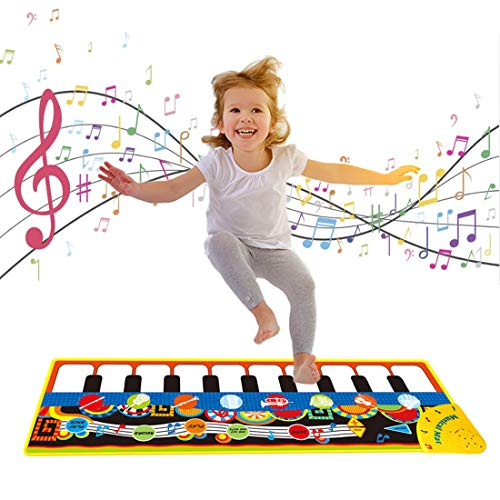 1 2 3 Year Old Boy Gifts, Piano Music Mat for Kids Floor Piano Playmat Dance Mat Musical Educational Toys for 1-3 Year Old Toddler Baby Boys Girls Xmas Christmas Birthday Gifts for 1-2 Year Old Black