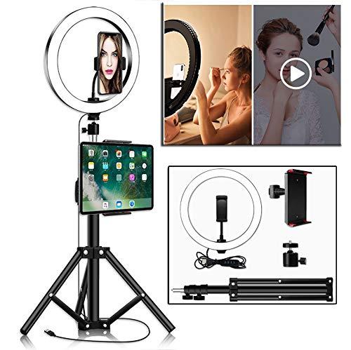 Dysel Led-ringlamp met tablet en telefoonhouder, statief, selfie-ringlicht voor tafel en staand, verstelbare lichtkit set 3 lichtmodi 10 helderheidsniveaus voor make-up, video, Vlog