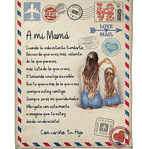Minyose para Mi Mamá-Manta De Lana Premium Carta Carta para Mi Mamá Express Love Versión En Español Manta Fina Regalo del Día De La Madre 150 * 200Cm