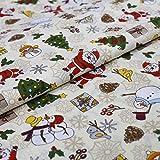 Hans-Textil-Shop Stoff Meterware Weihnachtsmann Christbaum