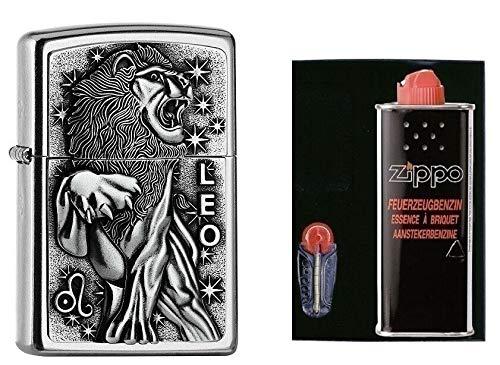Zippo - Accendino con segno zodiacale leone, set regalo