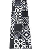 LaVelaHOME Tappeto Cucina a metraggio PVC Largo 50 cm marmette cementine azulejo (Black_White)
