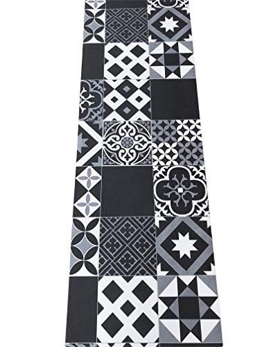 tappeto cucina nero 3 metri LaVelaHOME Tappeto Cucina a metraggio PVC Largo 50 cm marmette cementine azulejo (Black_White)