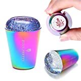 BORN PRETTY Nail Stamper Holographic Head Rainbow Handle Shining Clear Silicone Stamper for Nail Art...