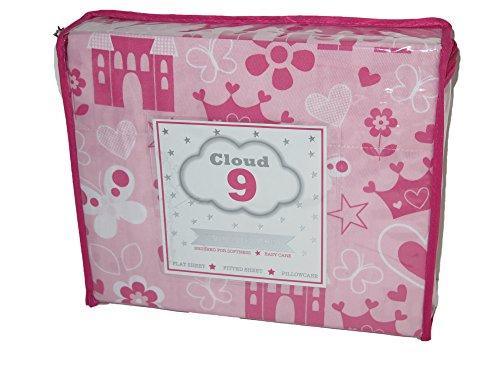 Cloud 9princesa corona castillo niña doble 3pc juego de sábanas