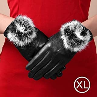 SGJFZD Fashionable Ball Leather Gloves for Women Windbreak Gloves (Color : Black)