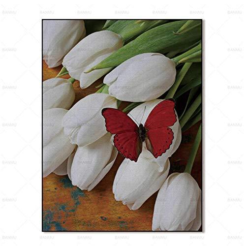 JNZART Wandmalereien abstrakte Malerei Kunstdrucke Blume auf Leinwand Wohnkultur für Wohnzimmer Wandplakat 40x50cm (15,7