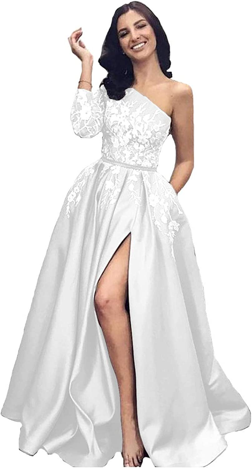 IVYPRECIOUS Women's One Shoulder A Line Prom Dresses Lace Evening Gowns Long Sleeve Side Split
