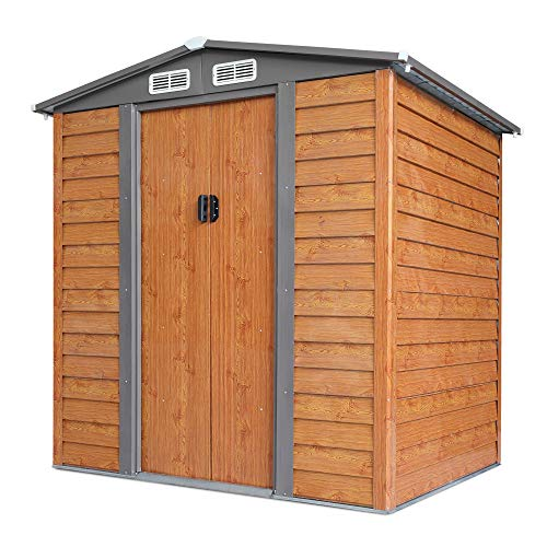 JAXSUNNY Outdoor Storage Shed, Metal Tool Shed House with Sloped Roof, Garden Patio Backyard Lawn Storage Building w/ Sliding Doors, 2 Vents, Imitation Wood Grain, 5 x 6 FT