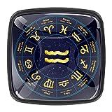 Manija de gabinete de 4 piezas moderna decorativa manija del gabinete de cocina y baño manija del cajón del signo de oro del zodiaco Acuario 3x2.1x2 cm