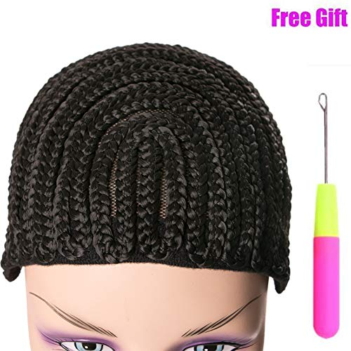 Breathable Adjustable Straps Crotchet Cornrows Wig Caps with 3 Combs for Making Wig Durable Stable Black Easier Sew in Weaving for Making Wig Braided Wig Caps 1Pcs/Lot Adjustable Wig Cap