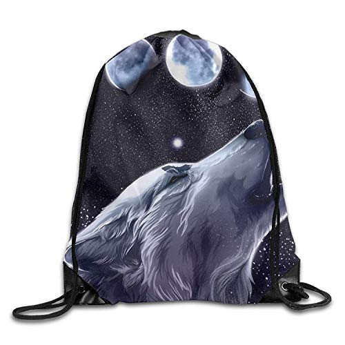 Etryrt Premium Drawstring Bag, Gym Drawstring Bags Wolf Moon Night Draw Rope Shopping Travel Backpack Tote Student Camping