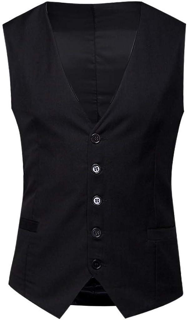 MODOQO Men's Suit Vest Tuxedo Dress Vest with Pockets for Suit or Tuxedo Wedding