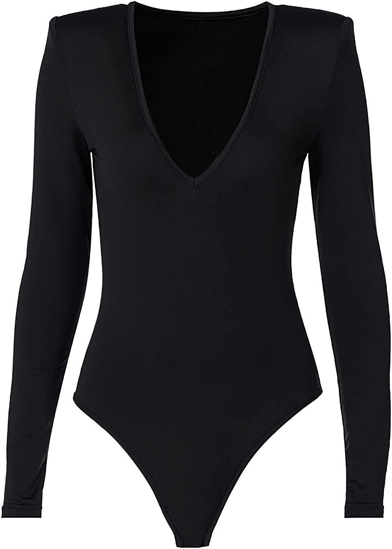 Womens V-Neck Long Sleeve Tops Basic Bodysuit Jumpsuit