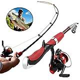 BESTEU Portable Mini Canne à pêche télescopique et Moulinet Ensemble de Canne à pêche avec moulinets à Lancer de pêche