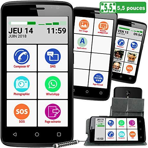 Mobiho-Essentiel Le SMART INITIAL 5,5 pouces, interface senior simplifiée pour faire l'essentiel - Coach privé inclus, guide, aide +pochette, app photo 8 Mp dos et 2 Mp recto - Débloqué tout opérateur