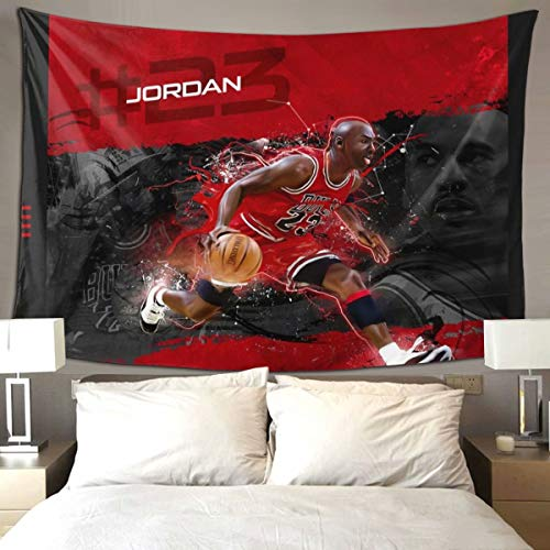 WOWFEEL Chicago Basketball Player Tapestry Wall Hanging, Sportsman Number 23# Wall Tapestry Athlete Home Decorations for Living Room Bedroom Dorm Decor in 9060Inches