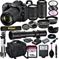 Nikon D7500 DSLR Camera with 18-140mm VR and 70-300mm Lens Bundle with 420-800mm Preset f/8 Telephoto Lens + 128GB Card, Tripod, Flash, and More (23pc Bundle) from AL's Variety