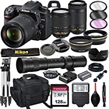 Nikon D7500 DSLR Camera with 18-140mm VR and 70-300mm Lens Bundle with 420-800mm Preset f/8 Telephoto Lens + 128GB Card, Tripod, Flash, and More (23pc Bundle)