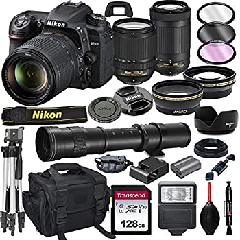 Nikon D7500 DSLR Camera with 18-140mm VR and 70-300mm Lens Bundle with 420-800mm Preset f/8 Telephoto Lens + 128GB Card Tripod Flash and More  23pc Bundle