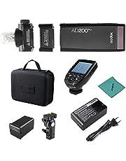 Godox AD200Pro Pocket Flash Portátil inalámbrico TTL Flash con Cabeza de Flash Intercambiable GN52 GN60 1 / 8000s HSS 200W con Xpro-C E-TTL II Transmisor de Disparo de Flash para cámaras Canon EOS