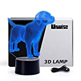 Labrador 3D Optical Illusion Night Lights, 7 Color Variations, Smart Touch Button USB and Battery Power, Amazing Creative Art Designed for Children 4629